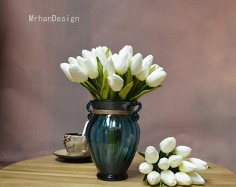 White Mini Tulips Table Centerpieces Real Touch Silk Bridal Bouquets Artificial Tulips Craft Supplies