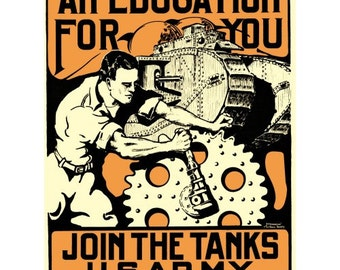 Join the Tanks World War I Recruiting Poster - Vintage Collectible WWI Decor - World War 1 Propaganda - WW1 US Army Militaria Art Print