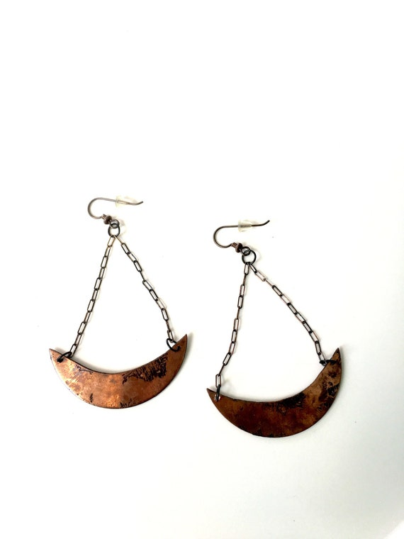 Copper etching earring
