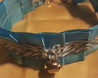 Custom Made Blue Ribbon Choker Coller for Neko Cosplay, Kittenplay, etc