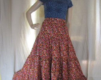 1960'S Boho Maxi Skirt, Calico, Ditsy, Festival, Tiered, Maxi, Pink, Red, Black, Floral, Flower, Fall,  Small, Long, Homemade, 1960's, 1970
