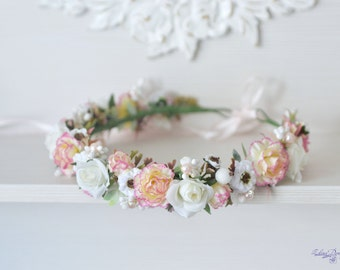 Peach pink Carnation wedding flower crown white roses hair wreath Bridal flower halo Peach white  Boho girl  flower crown Gentle headpiece