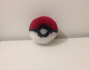 Medium handmade pokeball pompom -pokemon