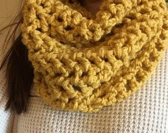 Crochet infinity scarf: golden yellow winter women's accessory, very warm