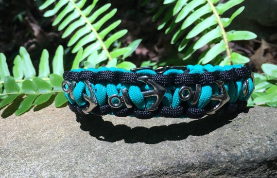 Anchor Nautical Paracord Anklet or Bracelet,teal colored cord, weaved onto a gunmetal center release buckle