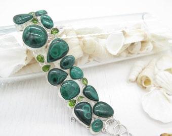 Malachite and Peridot Sterling Silver Bracelet