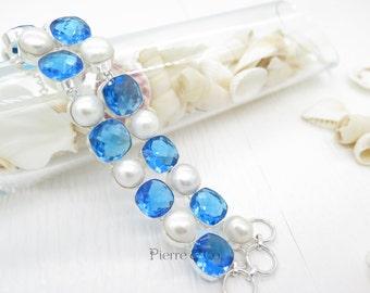Swiss Blue Topaz and Fresh water Pearl Sterling Silver Bracelet