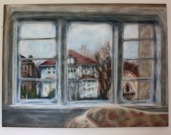 20% OFF Large Original Acrylic Painting on Canvas, Large Wall Art Window & Houses 30x36 Blurred Impressionism Vintage Contemporary Art Style
