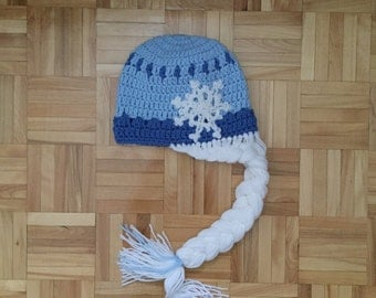 Frozen Inspired Crochet Elsa Hat With or without Braid, Elsa Tuque