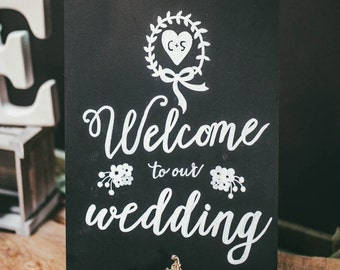 Personalised Monograme - Welcome to our Wedding Chalk Board - Wedding/Keep Sake/Party