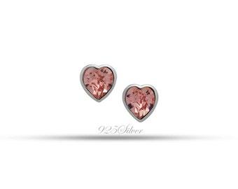 Swarovski Elements Silver Heart Shapped Push-Back Earrings by 7K