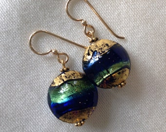 Murano Glass Earrings with 24kt Gold Foil and Gold Filled Earwires | Cobalt blue and Aqua | Lentil/Disk-Shaped | Lightweight