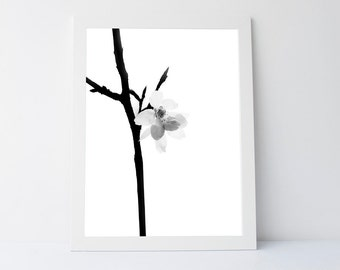 Flower Art, Floral Decor, Minimalist print,black white wall art, Printable Flowers, Printable Floral, Floral Print, Black White flower