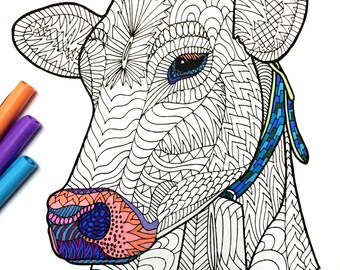 Cow - PDF Zentangle Coloring Page