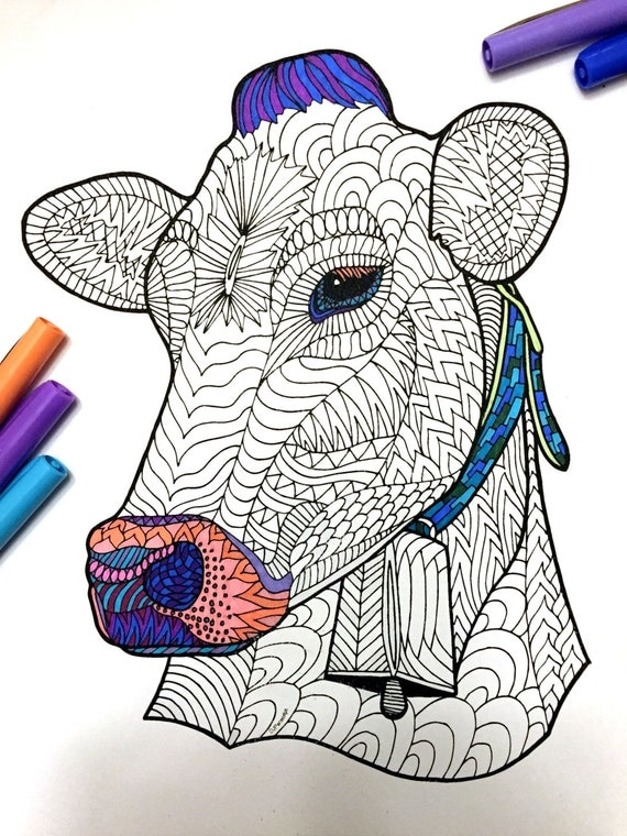 Cow PDF Zentangle Coloring Page