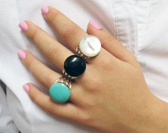 Turquoise Jewelry, Turquoise Ring, Sterling Silver Ring, Gemstone Ring, Boho Chic Ring, Wife Gift, Statment Ring, Blue Ring, Adjustable Ring