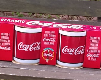 CocaCola Mugs/ Vintage Mugs/ White and Red/Vintage CocaCola/Set of 4 16 oz  mugs inside a pack of Coke/Gift for her/Gift for him/Collectors