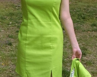Vintage 2 pieces dress from METRO STYLE Size 6 Lime Green color Easter Dress
