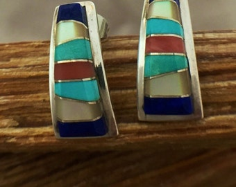 Zuni Turquoise Lapis Earrings Darren Tsalate Coral MOP Inlaid 925 Sterling Silver Vintage Jewelry Southwestern Birthday Valentine Gift Boho