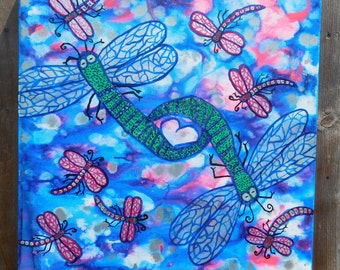"Abstract Acrylic Painting 20"" x 20"" x 1"" Deep  Colorfully Bright Dragonflies"