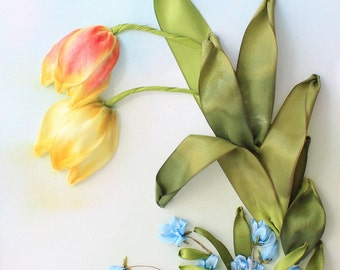 Tulips Silk Ribbon Embroidery Picture