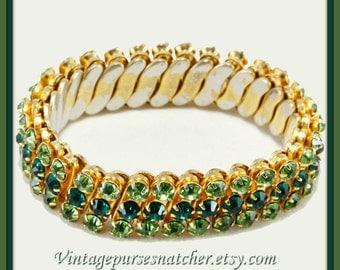 Vintage Rhinestone Bracelet,Vintage Expanding Bracelet,Vintage Expanding Rhinestone Bracelet,Vintage Green Rhinestone Bracelet,Expandable