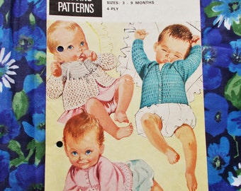 Vintage Bestway Knitting Pattern - Pattern no. 4041 - 1970's - Three Matinee Jackets -  3 to 9 months - used