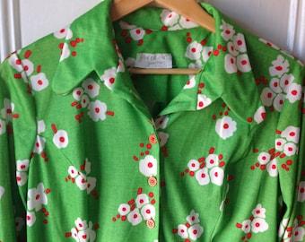 Plus size vintage floral green spring dress