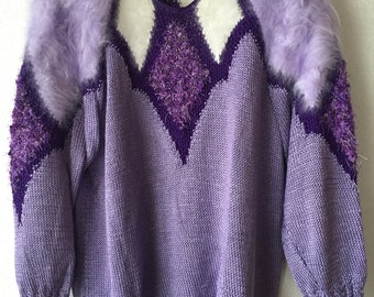 Handmade knitted lilas and white sweater