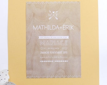 Wedding invitation - Scandinavian style - bottom wood - clean
