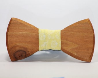 FREE SHIPPING> Wooden Bow Tie, Yellow Fabric