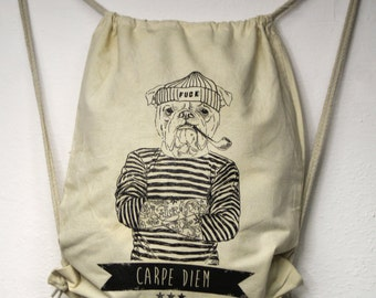 Gymbag tattooed dog Carpe diem DrawString backpack tattooed sailor Kitbag silkscreen screen printing