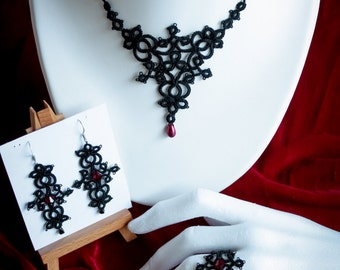 Gothic black tatted lace jewelry set (necklace, ring and earrings) with swarovsky crystals
