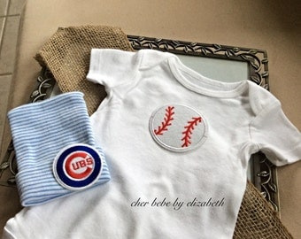 Chicago Cubs hospital hat coming home outfit, Basebal beanie, 100% cotton, baby Chicago cub hat Baseball onesie outfit, free gift wrap,