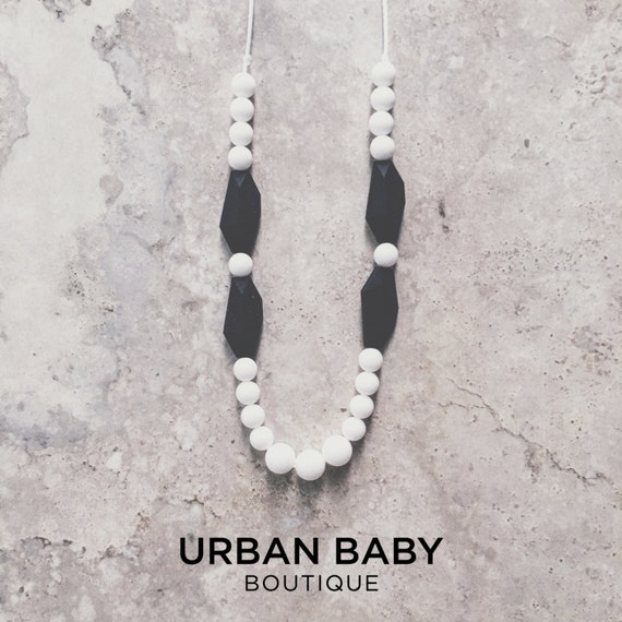 Avery Black & White Classic Silicone Teething Necklace - Mint Necklace, Chewable Necklaces, Hexagon Teething Necklaces, BPA Free Jewellery