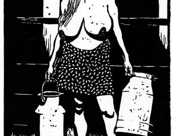 "Linocut woman nude erotic original title ""Zymplerin with milk jugs"""