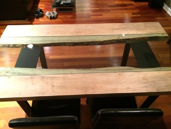 Live Edge River Glass Spalted Maple Dining Table | Oak Walnut Custom Coffee Side Tables Industrial Modern Contemporary