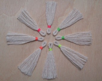 pack of 8 Tassels fluorescent white cotton thread, Mix or Pink, Orange, Green and Yellow
