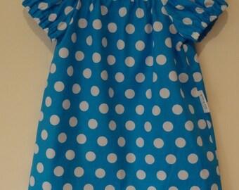 Peasant Dress - Aqua PolkaDots (Size 1)