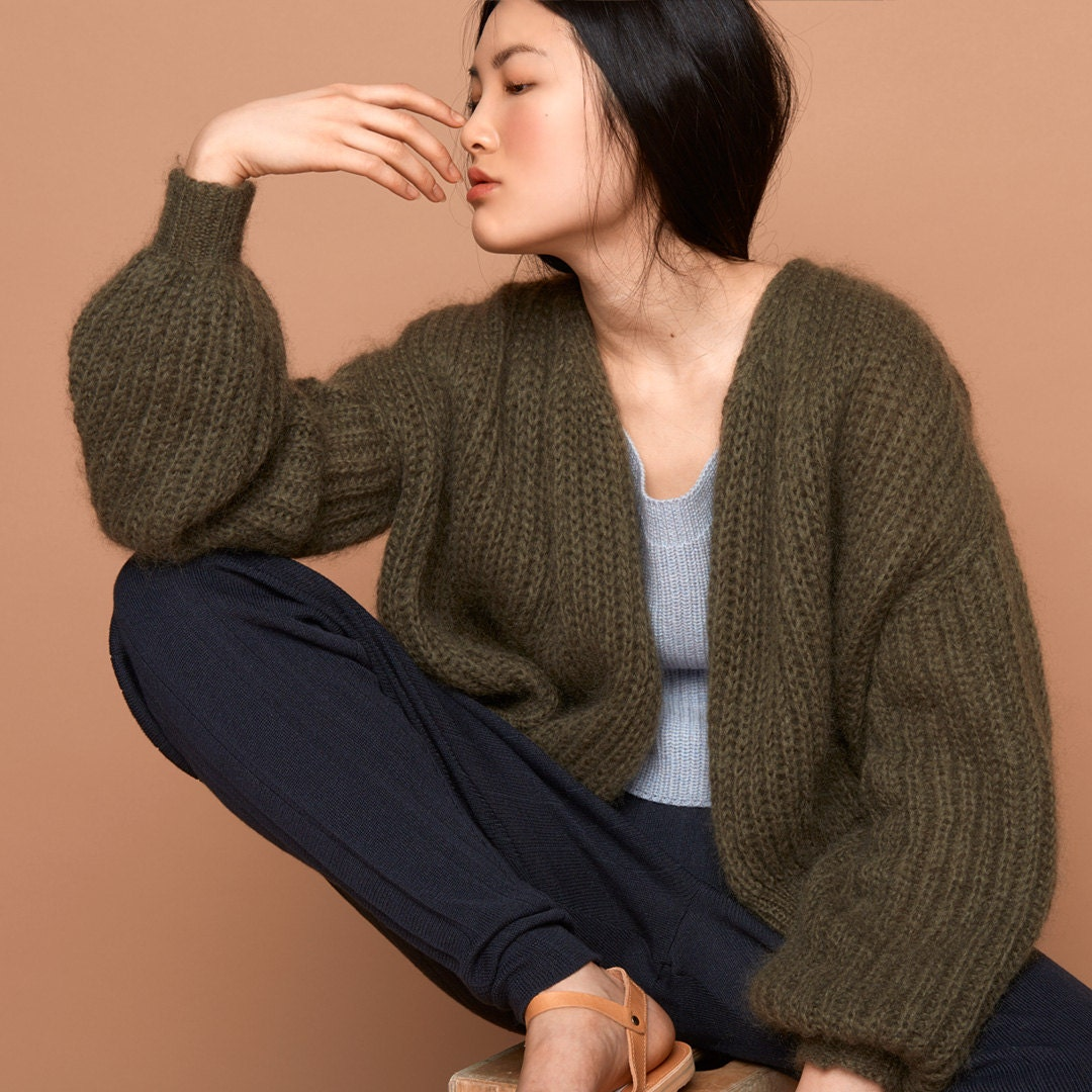 bomber jacket oliv khaki SABRINA WEIGT knitwear mohair
