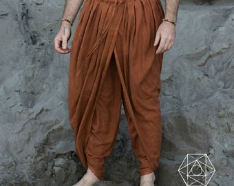 DHOTI PANTS RUST Men Khadi Pants Earthy Clothing Organic Natural Hand Woven Tribal Clothing Harem Dhoti Indian Pants