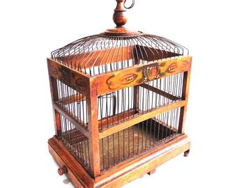 Bird Cage, Antique handmade primitive French Bird Cage, Antique French Home Decor, Wood and metal Bird Cage. #641GA87K2F
