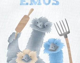A Mob of Emus | Collective Nouns | Childrens Poster | Emus Illustration
