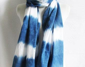 Unique Boho Indigo scarf Ombre indigo scarf Shibori scarves Natural dye scarf Infinity scarf  Indigo tie dye Gift for her  INDI075