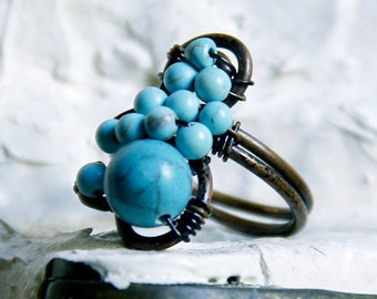 Handmade Ring w/ Turquoise and Pearls