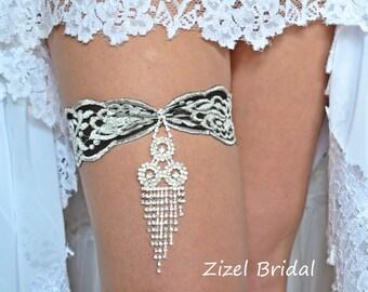 Black -Grey Garter, Garter Set, Stretch Lace Garte,Bridal Garter, Rhinestone Garter,Black Wedding Garter,Handmade Garter, Black Grey Garter