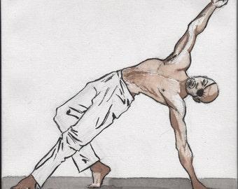 Heroic yoga watercolor - Camatkarasana