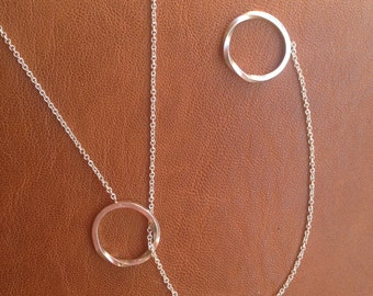 Sterling Silver Twisted Circles Lariat Necklace - Handmade