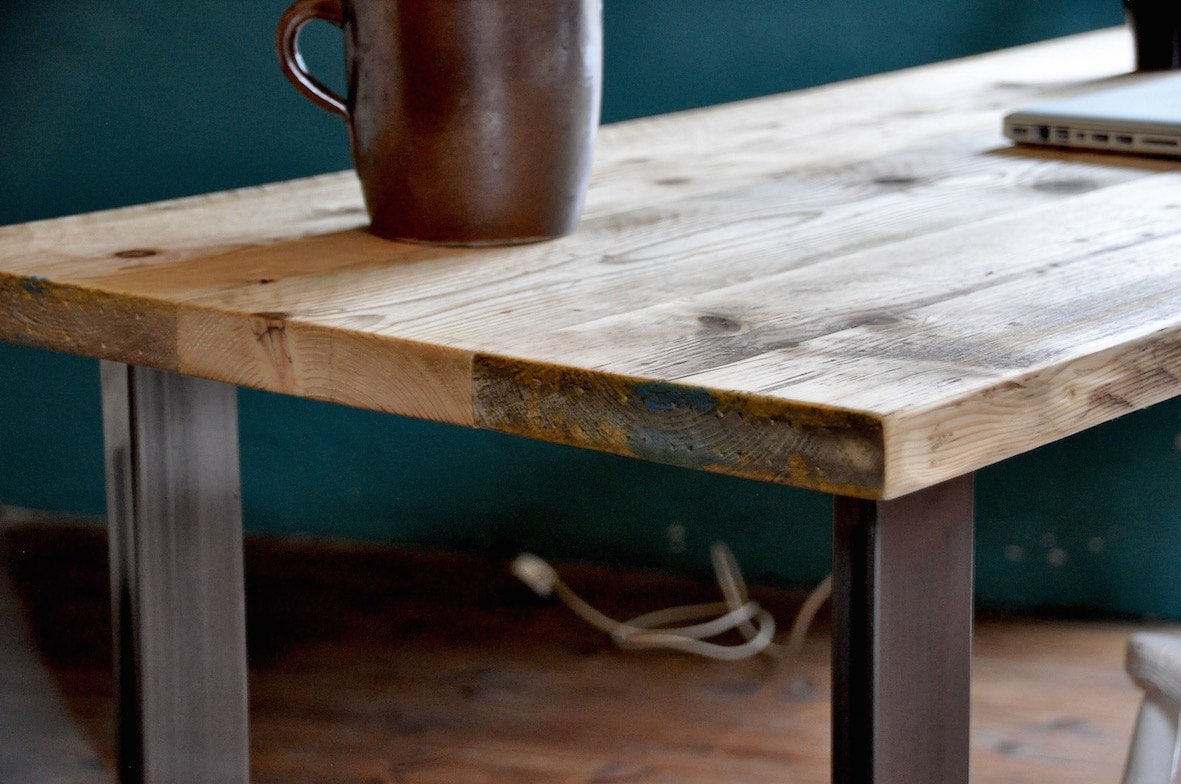 Reclaimed Wood Desk Industrial Rustic Table Vintage Scaffold