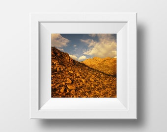 "Sandia Mountains Albuquerque NM Colorful Square Photograph. New Mexico Southwest desert style art print. ""Plate Tectonics"""